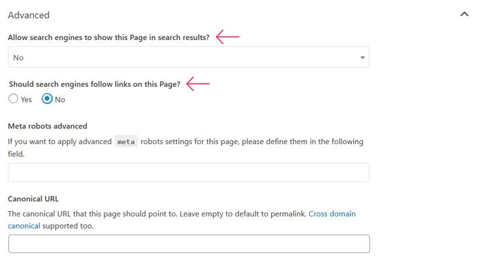 Impide que los motores de búsqueda sigan enlaces en su página