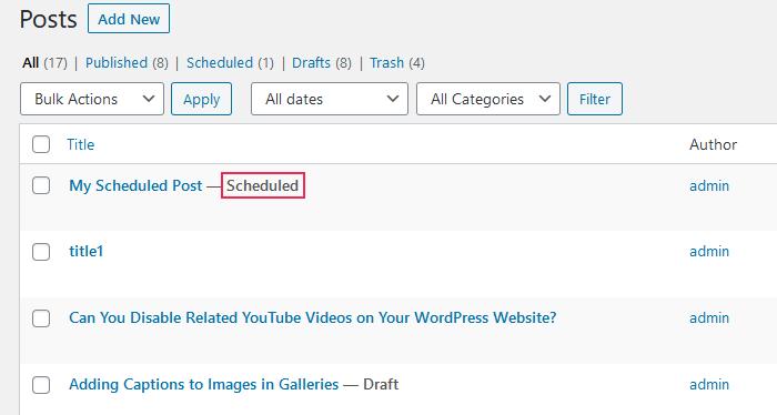 Encuentra publicaciones programadas en WordPress