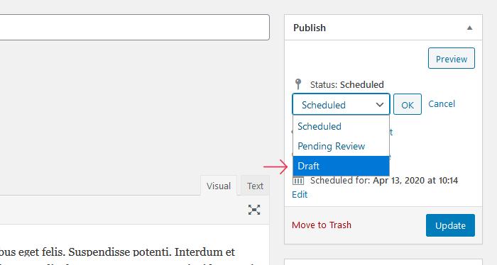 Detener publicaciones programadas en WordPress