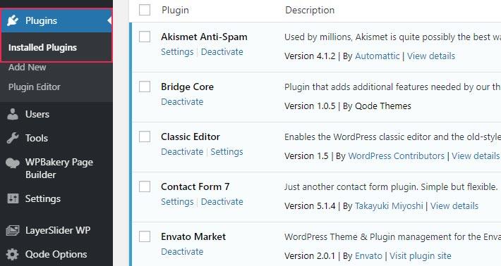 La lista de plugins instalados en su sitio web