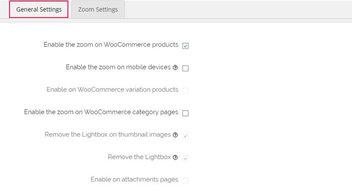 Pestaña de configuración general de zoom de imagen WP