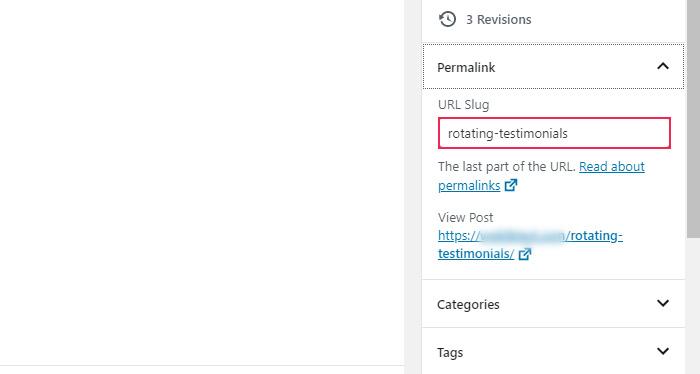 Slug de URL de enlace permanente
